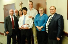 Peyton Manning with 2012 PeyBack Foundation Scholarship Recipient, Jeffrey Zhao.  Photo Courtesy of Maya Laurent.