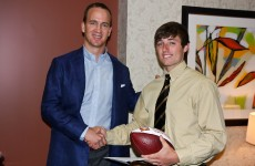 Peyton Manning and 2013 PeyBack Foundation Scholarship Recipient, Matt Fitzpatrick, Heritage Christian School