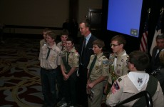 Peyton Manning and Boy Scouts at 2012 Boy Scouts Awards Dinner, courtesy of Crossroads of America Council